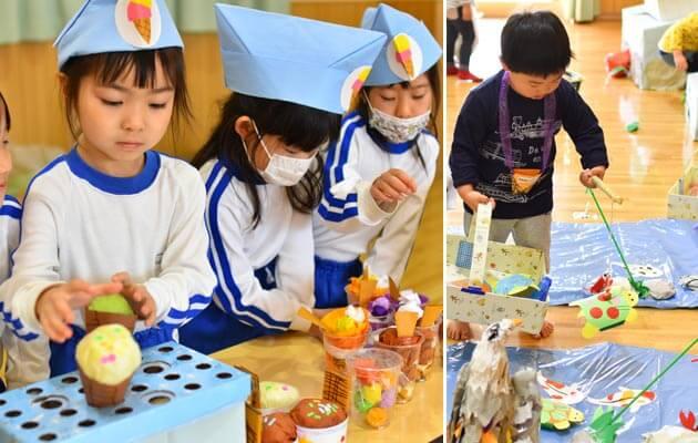 大阪府大東市の住道こども園の年間行事2月のお店やさんごっこ、涅槃会、節分会