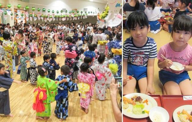 大阪府大東市の住道こども園の年間行事7月の盆踊り、お泊り保育