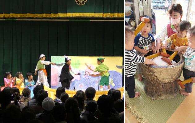 大阪府大東市の住道こども園の年間行事12月の年間予定の生活発表会、感謝の会、もちつき
