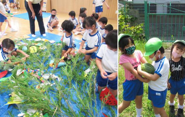 大阪府大東市の住道こども園の年間行事7月 七夕、5歳児夏の特別保育、盆踊り、終業式